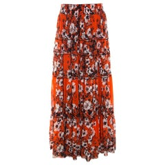 Jean Paul Gaultier Soleil Orange Floral Print Mesh Tiered Maxi Skirt M
