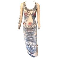 Jean Paul Gaultier Soleil Vintage Tattoo Bodycon Mesh Bolero Dress 2 Piece Set
