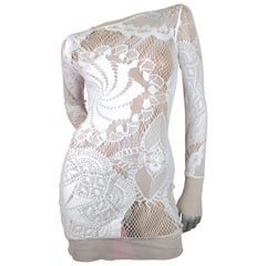 Jean Paul Gaultier Soleil White Sheer Dress with Mesh, Size S