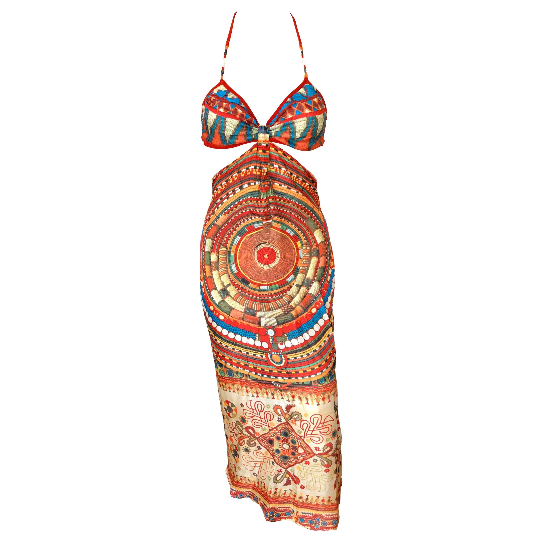 Jean Paul Gaultier Soleil Cutout Open Back Silk Dress