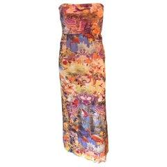 Jean Paul Gaultier Soleil Tropical Flamingo Logo Semi-Sheer Mesh Maxi Dress