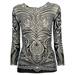 Jean Paul Gaultier Spring/Summer 1996 Iconic Tribal Tattoo Sheer Mesh Top Size S