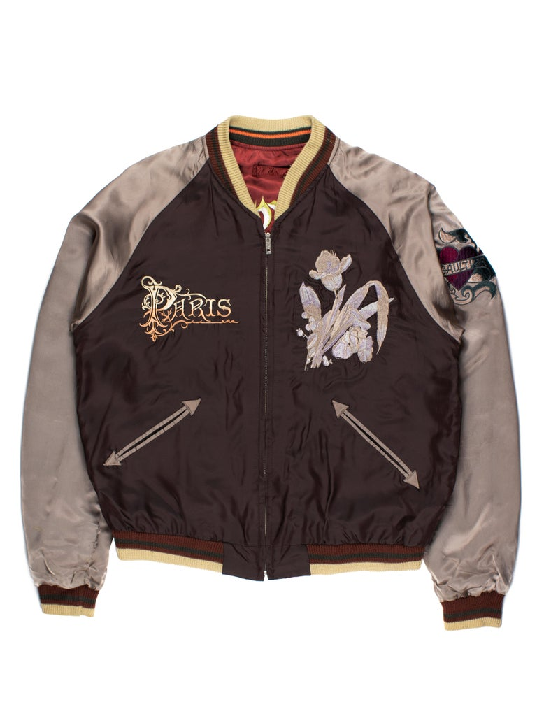 Brown Jean Paul Gaultier SS2001 Embroidered Souvenir Jacket
