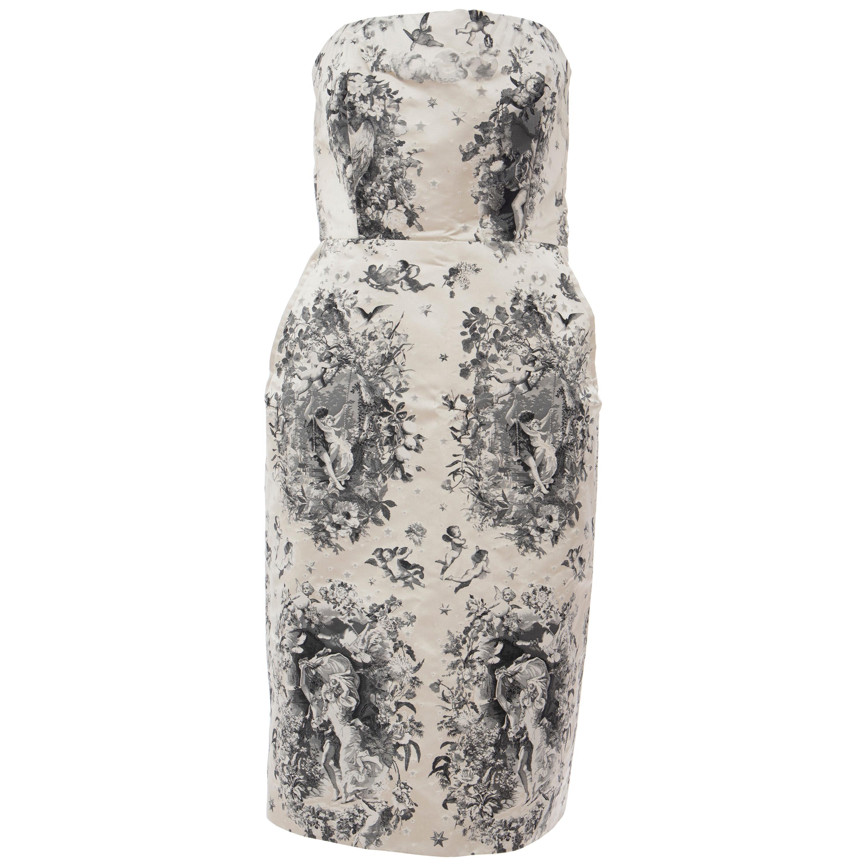 Jean Paul Gaultier Strapless Sheath Printed Silk & Lace Evening Dress, Fall 2007