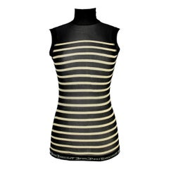 Jean Paul Gaultier Striped Black White Sleeveless Turtleneck Stretch Tshirt 2000