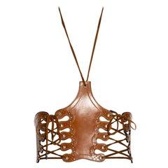 Jean Paul Gaultier tan leather lace-up halter corset, ss 2004