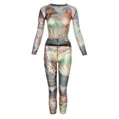 Jean Paul Gaultier 'The Birth of Venus' printed mesh top and leggings, ss 1995