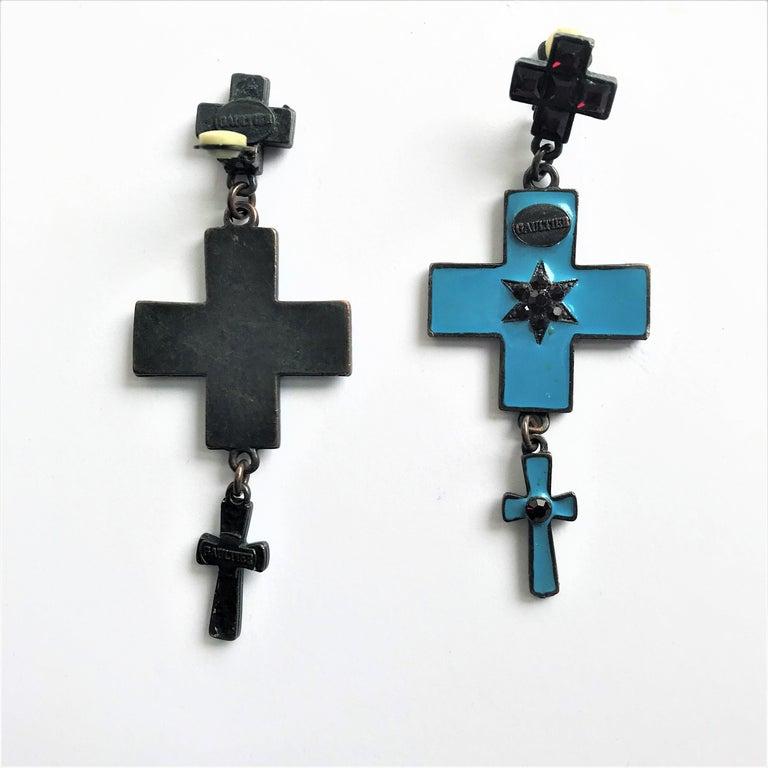 Artisan Jean Paul Gaultier three cross ear clips blue enamelled and red rhinestones  For Sale