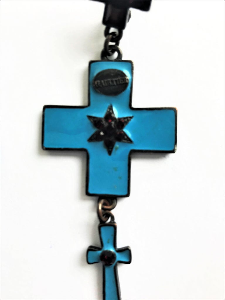 Jean Paul Gaultier three cross ear clips blue enamelled and red rhinestones  In Excellent Condition For Sale In Stuttgart, DE
