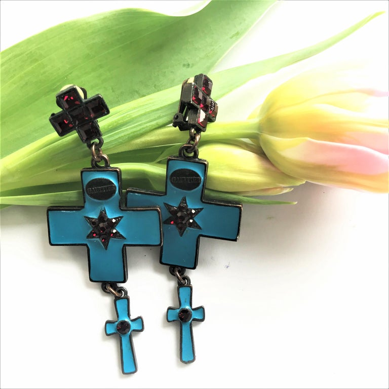 Jean Paul Gaultier three cross ear clips blue enamelled and red rhinestones  For Sale 1