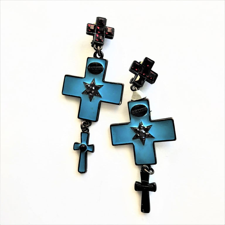 Jean Paul Gaultier three cross ear clips blue enamelled and red rhinestones  For Sale 2
