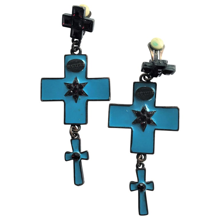 Jean Paul Gaultier three cross ear clips blue enamelled and red rhinestones  For Sale