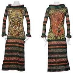 JEAN PAUL GAULTIER Tribal Tattoo Prints Rolled Hoop Neckline and Cuffs Dress