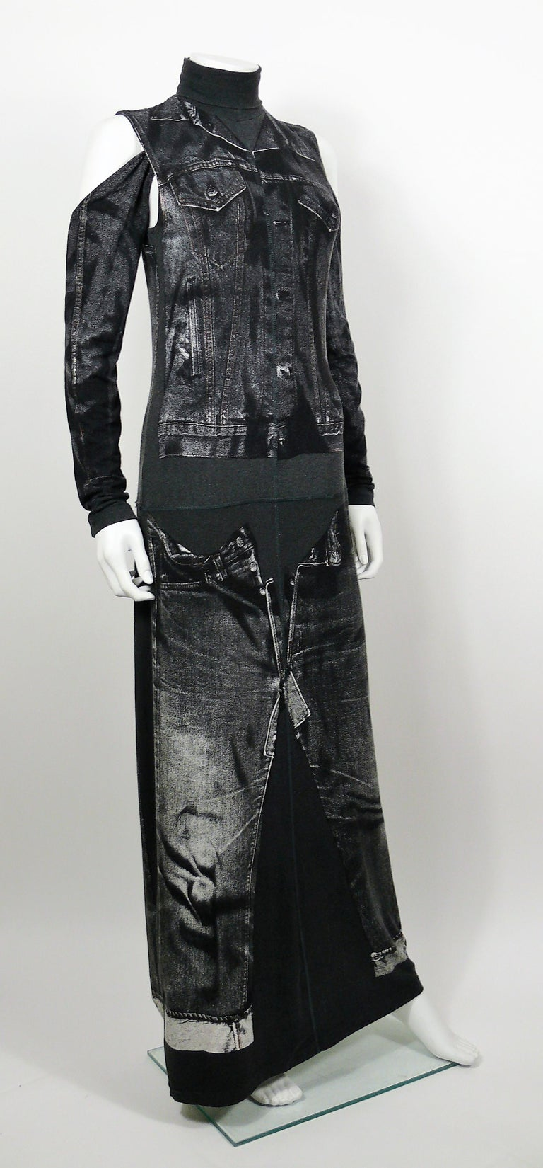 JEAN PAUL GAULTIER rare maxi jersey dress with detachable sleeves featuring an x-ray screen trompe l'œil jean jacket and jeans on the front and back.  This dress features : - Grey jersey background featuring distressed black/white x-ray screen
