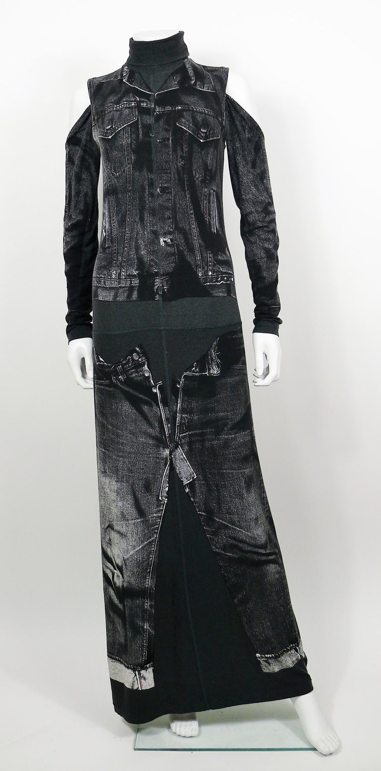 Black Jean Paul Gaultier Trompe L'oeil Maxi Dress with Detachable Sleeves For Sale