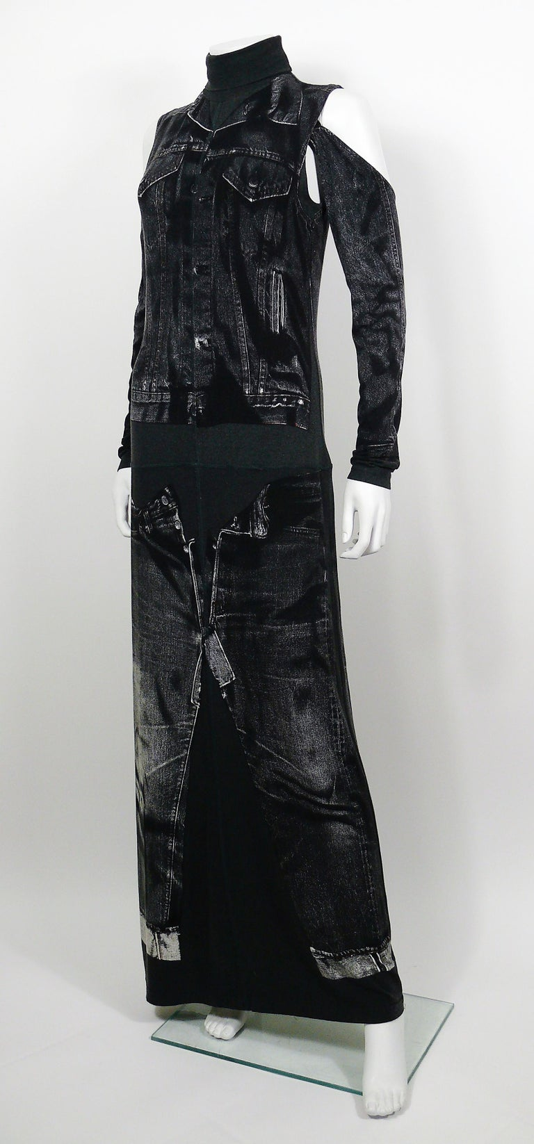 Jean Paul Gaultier Trompe L'oeil Maxi Dress with Detachable Sleeves In Good Condition For Sale In French Riviera, Nice