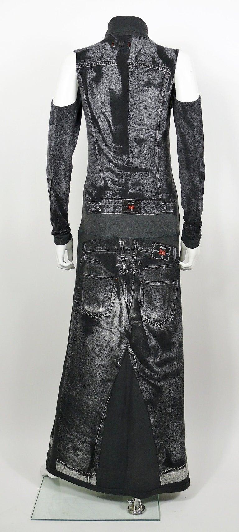 Women's Jean Paul Gaultier Trompe L'oeil Maxi Dress with Detachable Sleeves For Sale