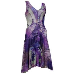 2000S JEAN PAUL GAULTIER Style Purple & Blue Tropical Print Stretch Mesh  Dress