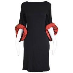 Jean Paul Gaultier Vintage 1990s Black Rayon Knit Oversized Taffeta Cuffs Dress
