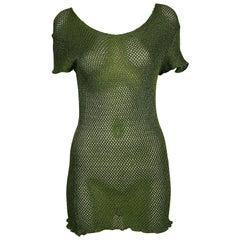 Jean Paul Gaultier Vintage 1990s Green Fishnet Mini Dress