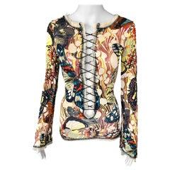 Jean Paul Gaultier Vintage 2000's Plunging Neckline Corset Ties Butterfly Top M