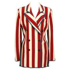 Jean Paul Gaultier vintage 80's striped jersey stretch jacket