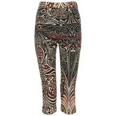 Jean Paul Gaultier Vintage Aboriginal Maori Tattoo Cropped Pants Trousers