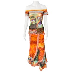 Jean Paul Gaultier Vintage Abstract Psychedelic Top &Skirt Ensemble 2 Piece Set