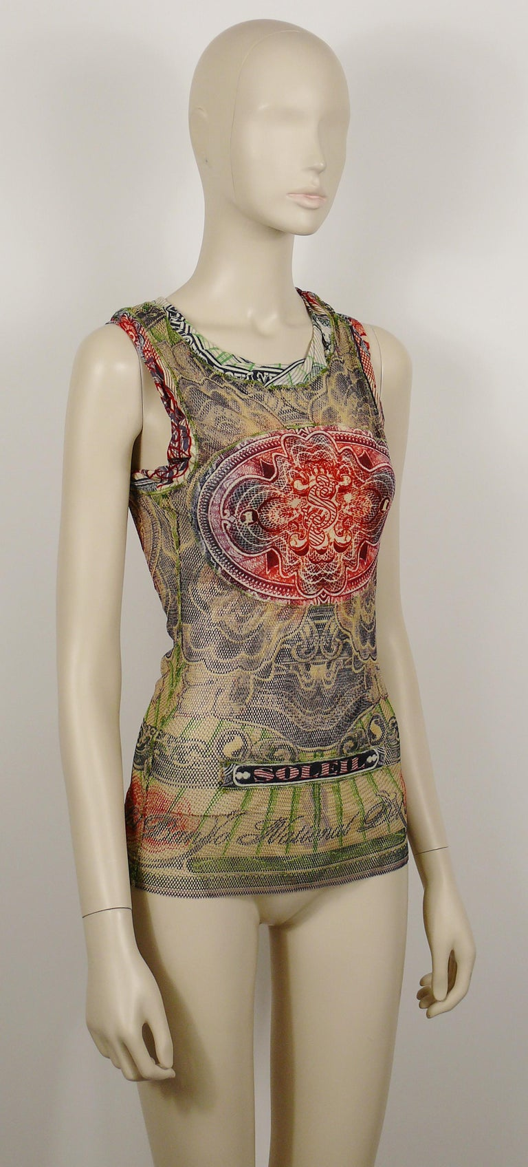 JEAN PAUL GAULTIER vintage sheer fishnet tank top featuring a banknote print.  Label reads JEAN PAUL GAULTIER Soleil.  Size label reads : S. Please refer to measurements.  Mission composition label.  Indicative measurements taken laid flat and