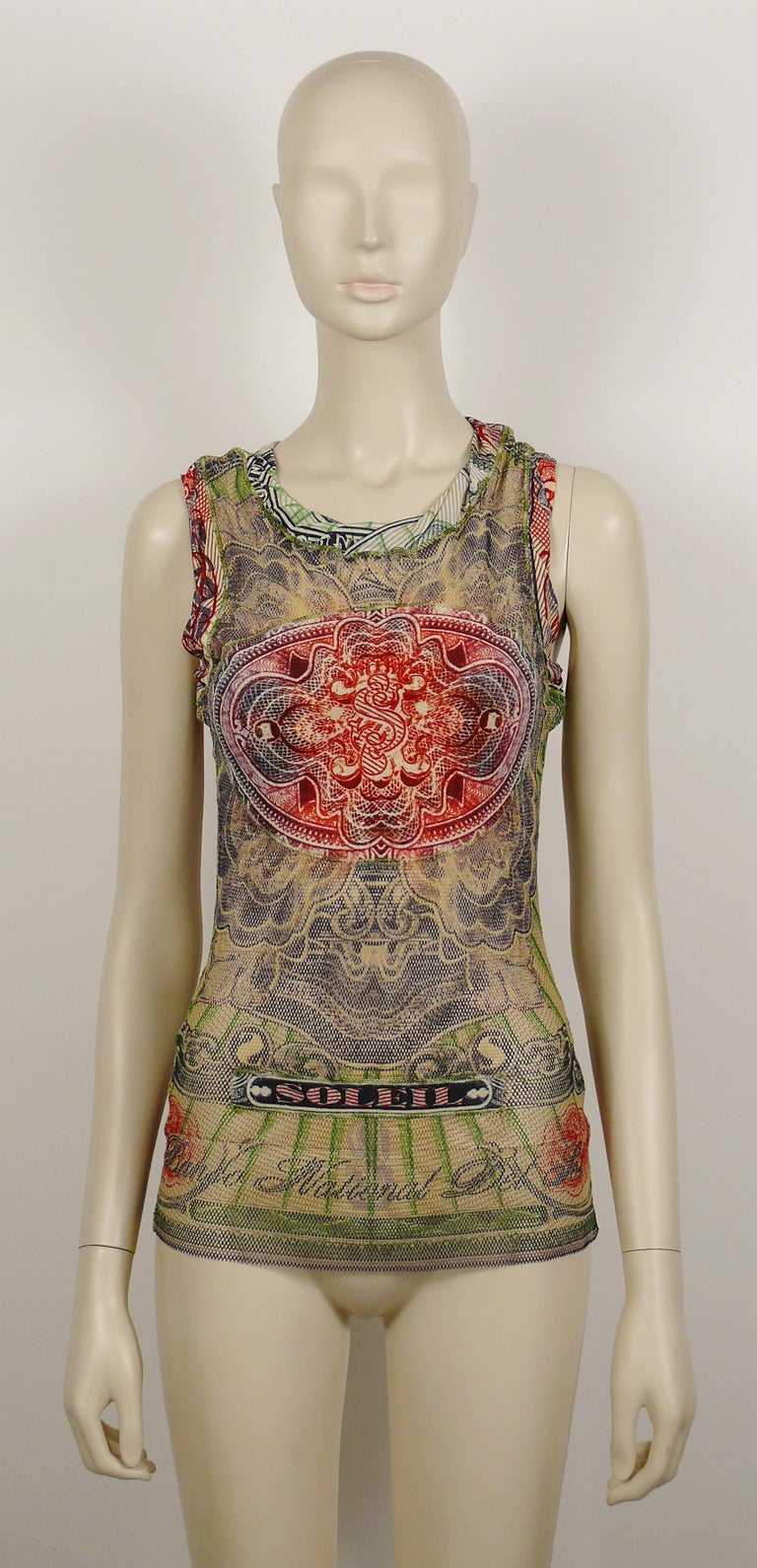 Jean Paul Gaultier Vintage Banknote Print Sheer Fishnet Tank Top Size S In Excellent Condition For Sale In Nice, FR