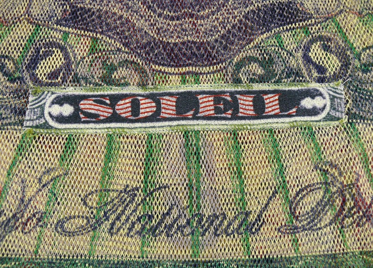 Jean Paul Gaultier Vintage Banknote Print Sheer Fishnet Tank Top Size S For Sale 1