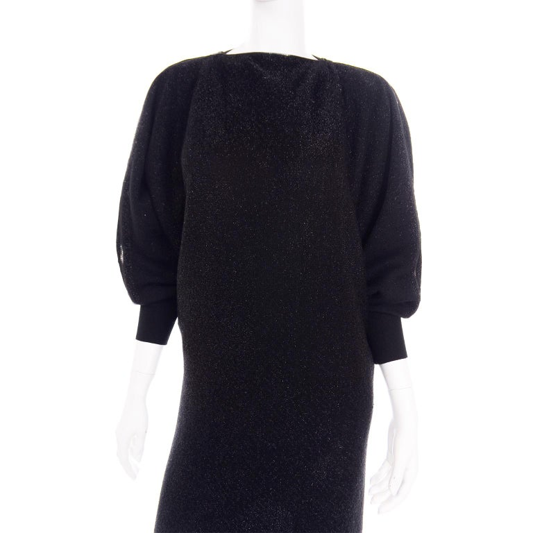 Jean Paul Gaultier Vintage Black Sparkle Zipper Dress with Dramatic Sleeves 8