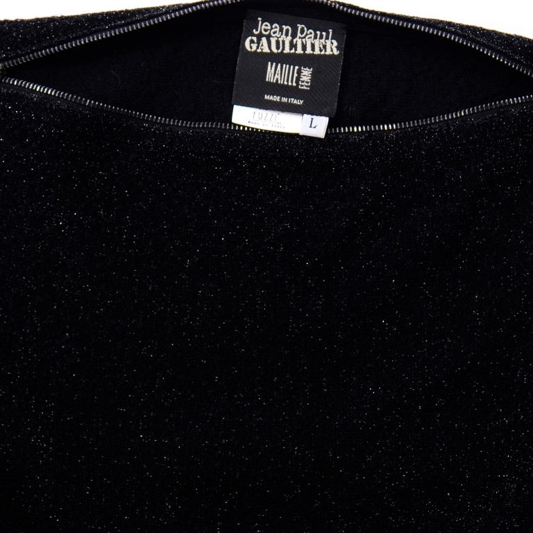 Jean Paul Gaultier Vintage Black Sparkle Zipper Dress with Dramatic Sleeves 9