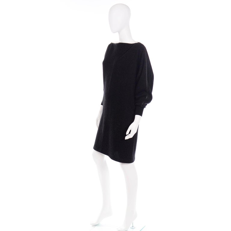 Jean Paul Gaultier Vintage Black Sparkle Zipper Dress with Dramatic Sleeves In Excellent Condition In Portland, OR