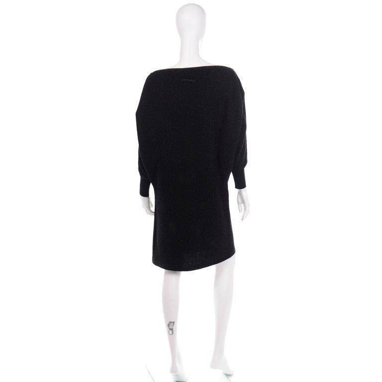 Women's Jean Paul Gaultier Vintage Black Sparkle Zipper Dress with Dramatic Sleeves