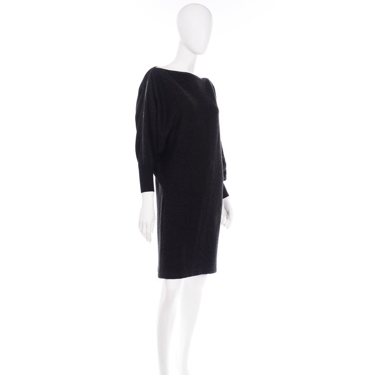 Jean Paul Gaultier Vintage Black Sparkle Zipper Dress with Dramatic Sleeves 1