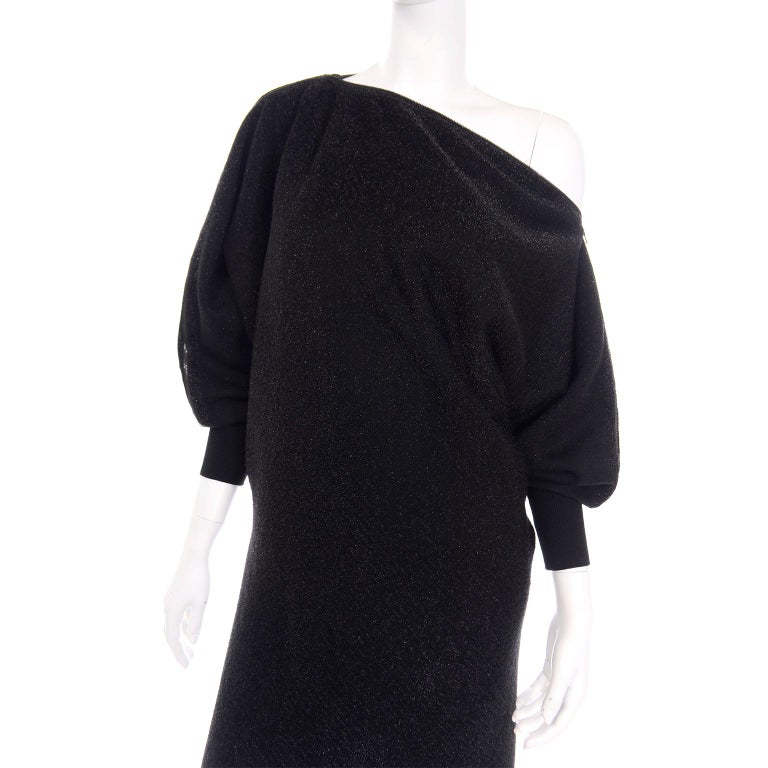 Jean Paul Gaultier Vintage Black Sparkle Zipper Dress with Dramatic Sleeves 2