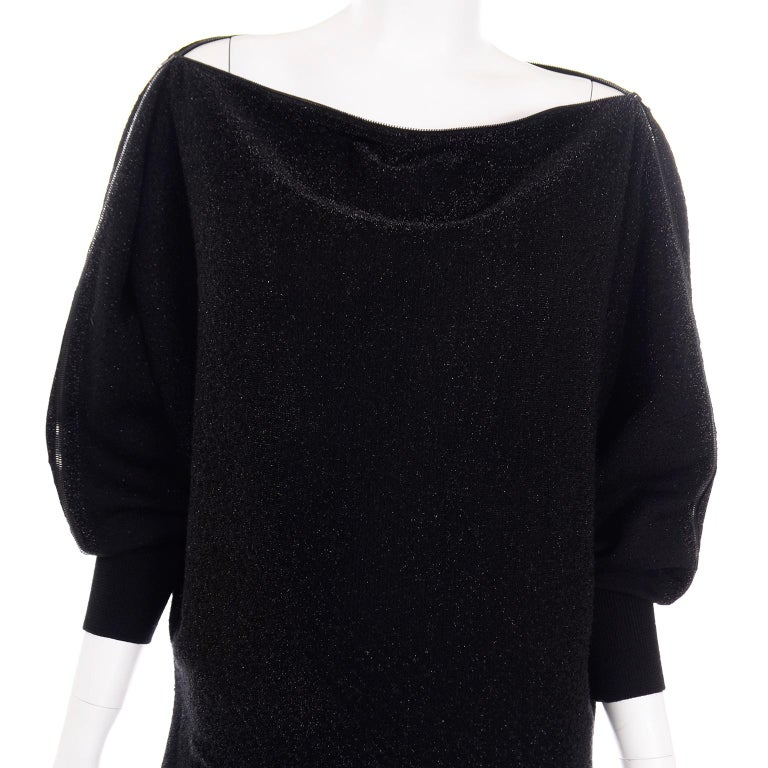 Jean Paul Gaultier Vintage Black Sparkle Zipper Dress with Dramatic Sleeves 3