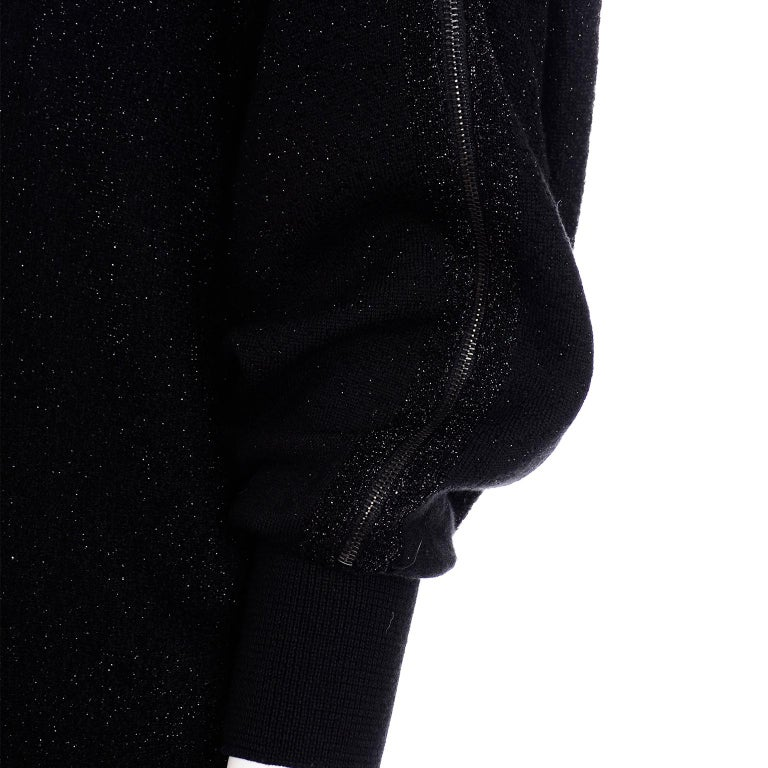 Jean Paul Gaultier Vintage Black Sparkle Zipper Dress with Dramatic Sleeves 4