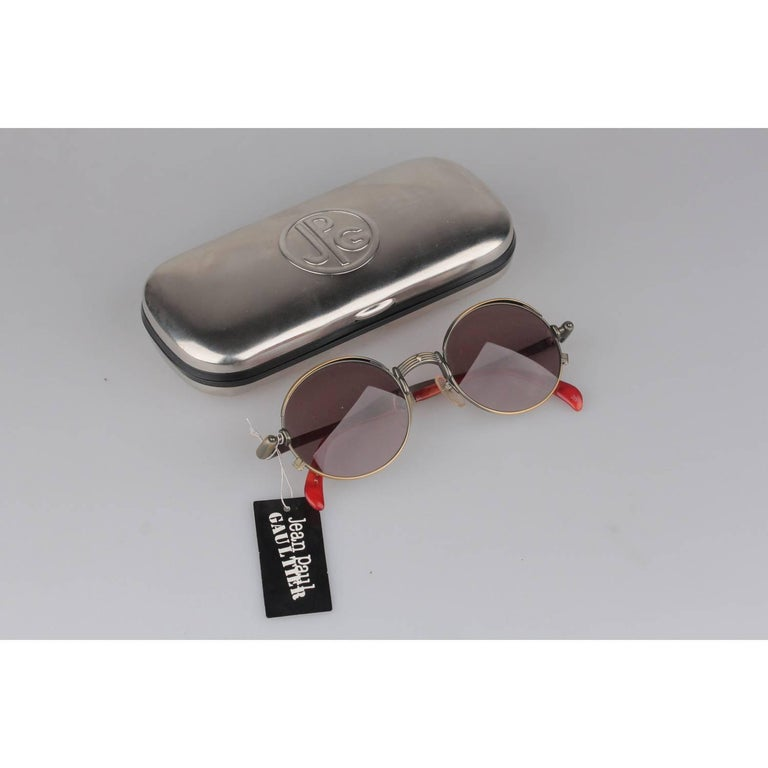 Original Vintage 1990s JEAN PAUL GAULTIER Unisex Sunglasses Bronze/Gunmetal frame, with Jet side Ornaments JPG logo on the top part of the lens Made in Japan Mod. 56-4175 - 21 New Old Stock - Never Worn or USed - they will come with an Original JPG