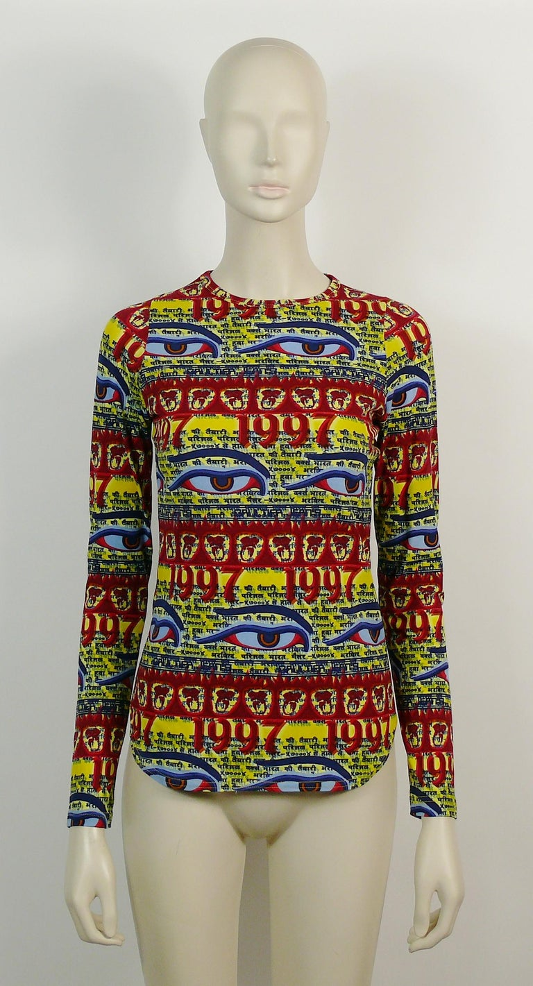 Brown Jean Paul Gaultier Vintage Buddha Eyes Tibetan Print Top 1997 For Sale