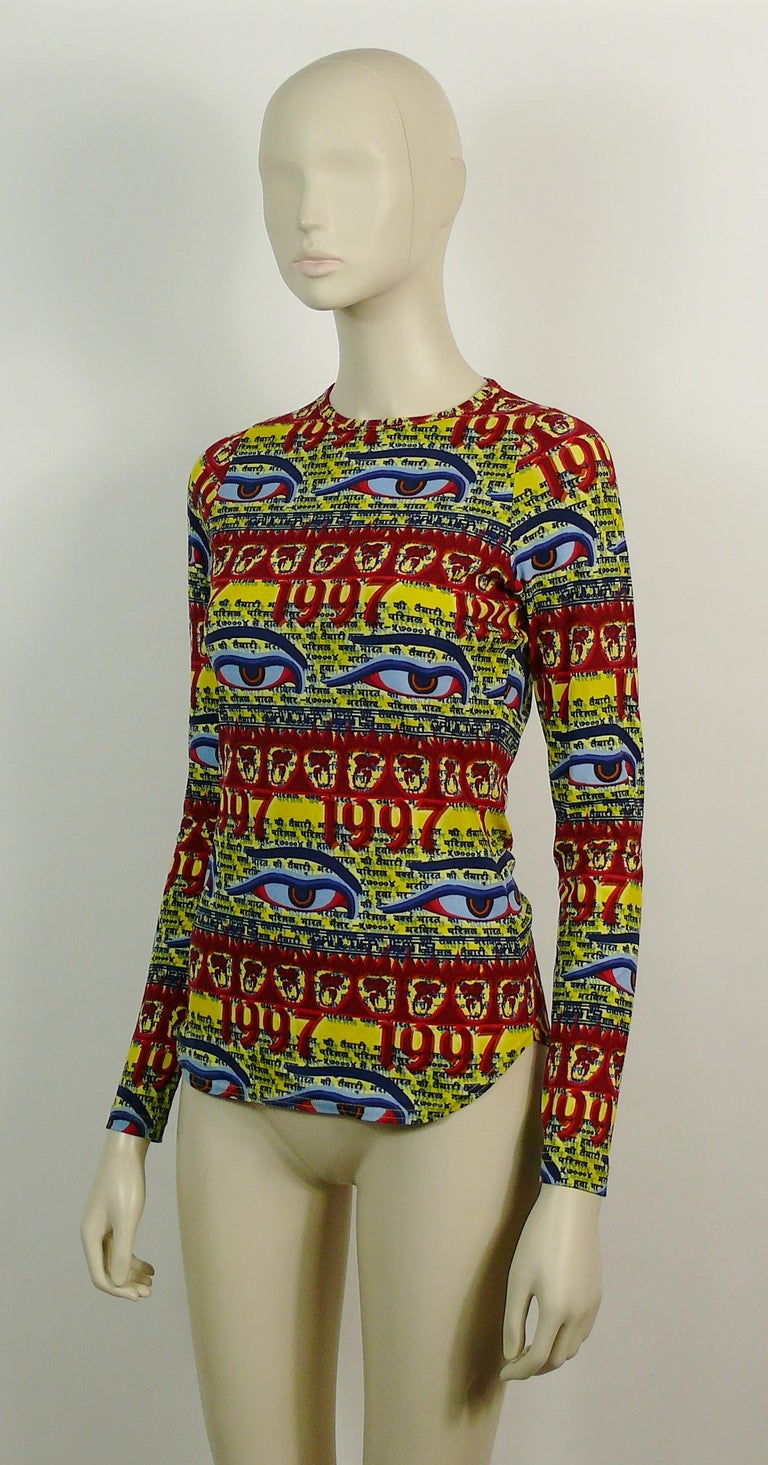Jean Paul Gaultier Vintage Buddha Eyes Tibetan Print Top 1997 In Good Condition For Sale In Nice, FR