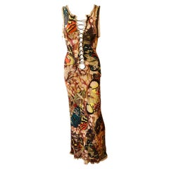 Jean Paul Gaultier Vintage Butterfly Print Lace Up Plunged Bodycon Maxi Dress