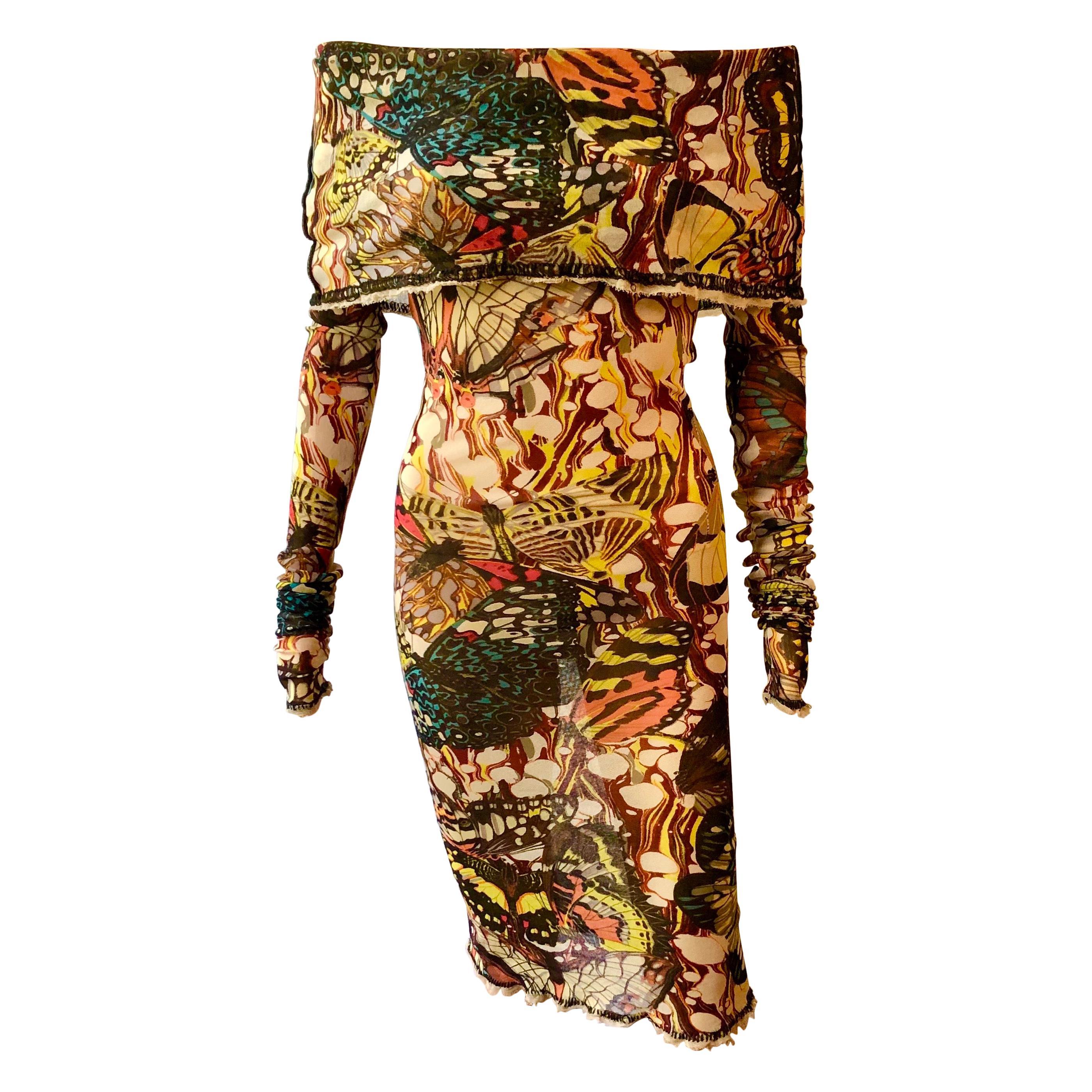Jean Paul Gaultier Vintage Butterfly Semi-Sheer Mesh Off Shoulder Bodycon Dress