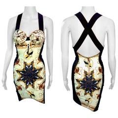 Jean Paul Gaultier Vintage c.1990 Cone Bra Bustier Sheer Side Panels Mini Dress