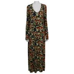 Jean Paul Gaultier Vintage Camouflage Faces Maxi Dress Size XL