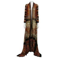 Jean Paul Gaultier Vintage Carpet Print Open Front Sheer Mesh Kaftan Size M