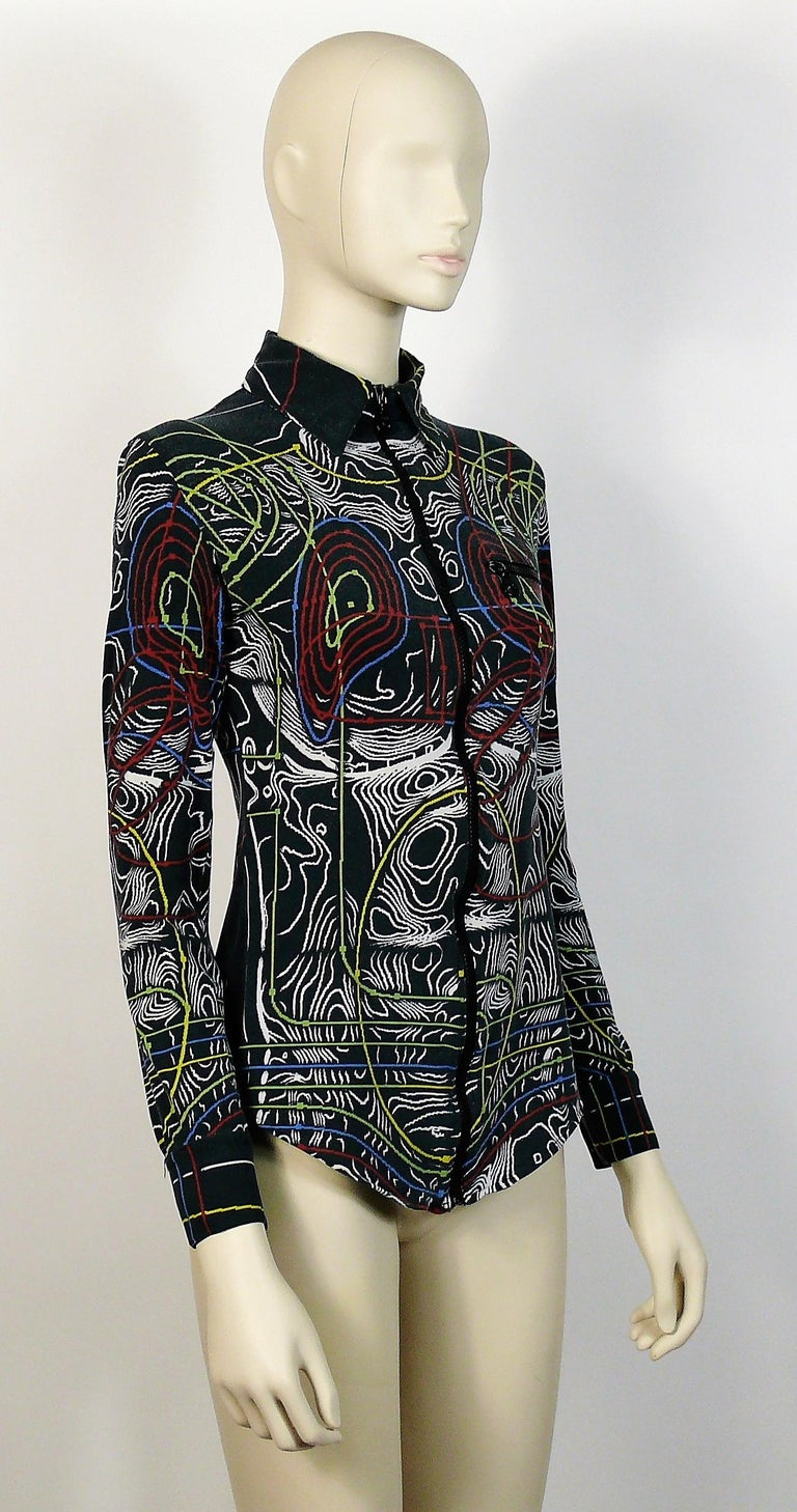 JEAN PAUL GAULTIER vintage top featuring a multicolored circuit cyborg print all over.  Zip neck. Long sleeves. Cuff snap buttoning.  Label reads JPG Paris Made in Italy.  Size tag reads : S. Please refer to measurements.  Missing composition