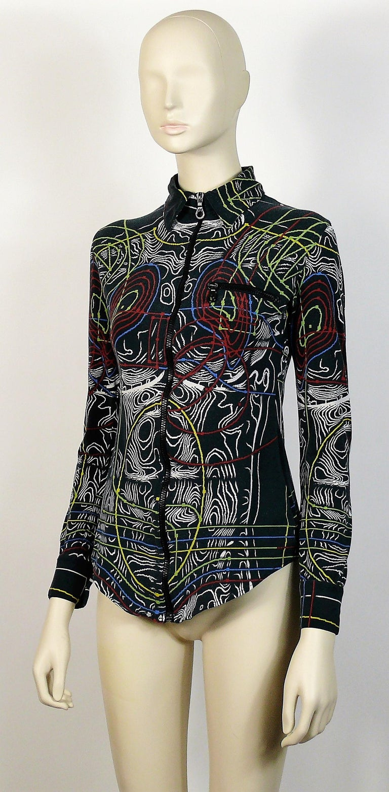 Jean Paul Gaultier Vintage Circuit Print Cyborg Top Size S In Fair Condition For Sale In Nice, FR