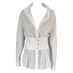 Jean Paul Gaultier Vintage Corset White Shirt Dress